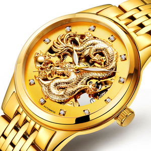 全自动<span class=H>机械</span>表情侣金龙表镂空男士时装真皮精钢带防水超薄夜光手表