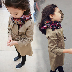 女童<span class=H>风衣</span>外套春装新款2019童装中大童中长款英伦风儿童双排扣大衣
