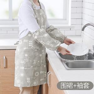 家用韩版<span class=H>围裙</span>套装厨房做饭防油炒菜围腰套袖时尚挂脖带<span class=H>袖套</span>女罩衣
