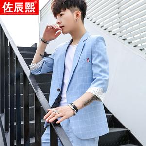 夏季韩版修身短袖小<span class=H>西服</span>套装青少年男七分袖中袖西装<span class=H>男装</span>一套礼服