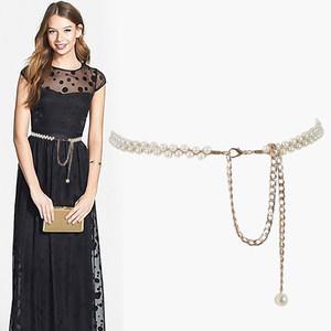 珍珠细腰带女士简约百搭韩版装饰配连衣裙子皮带牛皮时尚女款腰链