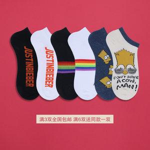 夏季低帮透气辛普森卡通潮牌字母滑板船袜男女日系可爱潮流<span class=H>短袜</span>棉