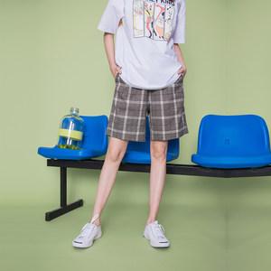 短裤女夏季休闲宽松显瘦高腰灰色直筒裤学生ins情侣格子<span class=H>五分裤</span>潮