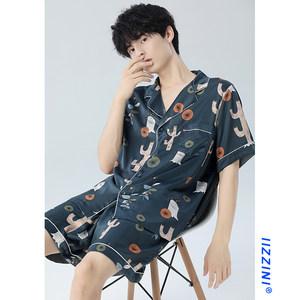 IIZZINI原创 睡衣男夏冰丝短袖薄款仙人掌印花短裤宽松家居服套装