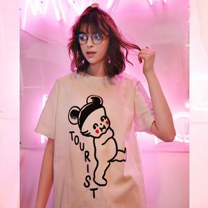 逆光春夏韩版宽松白色印花情侣短袖T恤