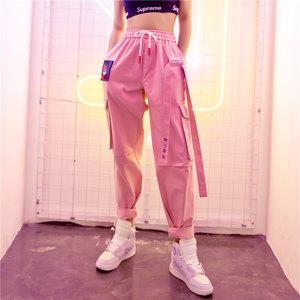 2019春季新款街头嘻哈裤ins超火的<span class=H>裤子</span>直筒工装裤女宽松bf运动裤