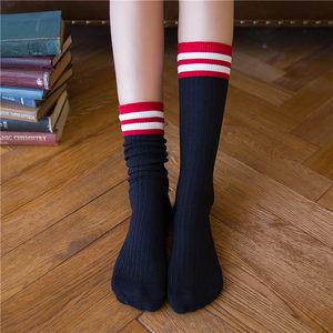 堆堆袜子女夏中<span class=H>长筒袜</span>春秋季二条杠日系学院风纯棉透气吸汗运动袜