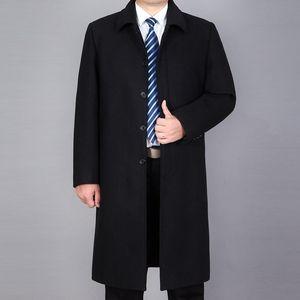 秋冬款男装长款毛<span class=H>呢大衣</span>中老年爸爸宽松男士装外套呢子大衣休闲厚