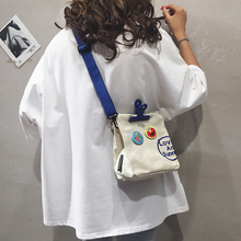 New Kind of Small Bag Girl Style Summer 2019 Canvas Single Shoulder Slant Bag Chao Korean Edition Fashionable Personality Girl Broad Shoulder Bag