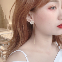 New long tasseled earrings, silver needles, Korean temperament, famous lady earrings, sophisticated and fashionable baggy earrings, 2019