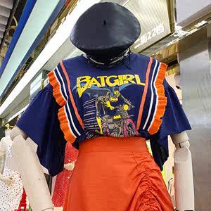 2019夏季新款休闲套头短袖拼接织带字母韩版宽松短袖<span class=H>T恤</span>上衣女装