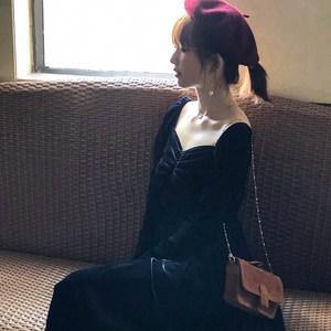 十早 法式复古V领连衣裙黑丝绒宫廷风中<span class=H>长裙</span>法国小众少女天鹅绒裙