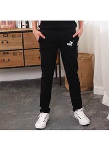 男童<span class=H>裤子</span>2018春秋款中童长裤加厚加绒中大童男孩黑色运动裤一体绒