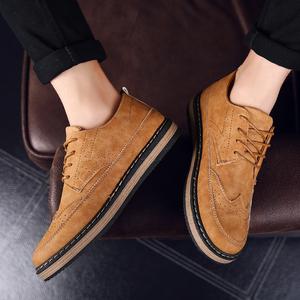 春季透气耐磨工装<span class=H>鞋子</span>男士英伦风休闲鞋复古布洛克<span class=H>男鞋</span>马丁单板鞋