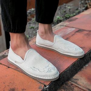 春夏季男士中国风布鞋软底亚麻帆布鞋复古刺绣一脚蹬懒人休闲<span class=H>男鞋</span>