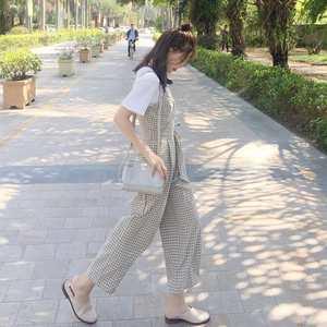 韩版复古夏雪纺格子吊带高腰连体裤显瘦背带新款休闲九分阔腿裤女