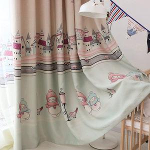 儿童房卡通遮光防晒窗帘卡通城堡雪人气球印花窗帘环保布料安装