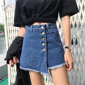 新款夏季个性潮流时尚不规则深蓝色2017外穿女士黑色牛仔<span class=H>短裤</span>收腰