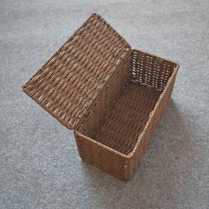特价草编<span class=H>收纳盒</span>桌面整理箱田园编织收纳筐带盖家用衣服长方储物盒