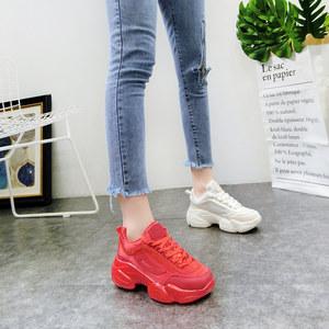 韩版春季新款磨砂真皮系带厚底松糕坡跟老爹鞋运动鞋<span class=H>休闲鞋</span>女鞋潮