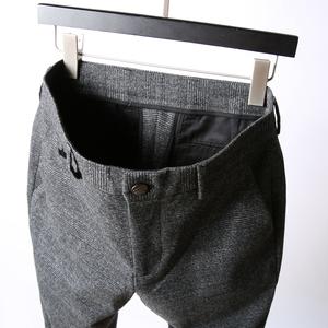 雅痞英伦绅士<span class=H>男装</span>裤 高品质经典格纹修身羊毛休闲<span class=H>西裤</span> 男商务长裤