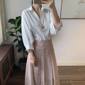 2019春夏新品 V领七分蝙蝠袖套头宽松白色<span class=H>衬衫</span> 女