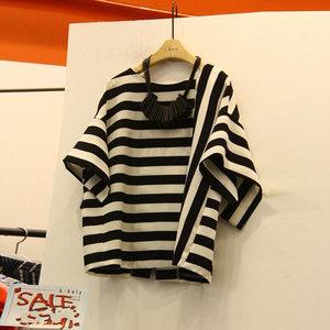 不对称条纹短袖T恤女夏装新款韩版宽松休闲打底<span class=H>衫</span>半袖体恤上衣服