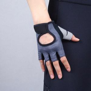 包邮 运动手套 半指高弹透气 黑色灰色男女款仿麂皮网眼短款触屏