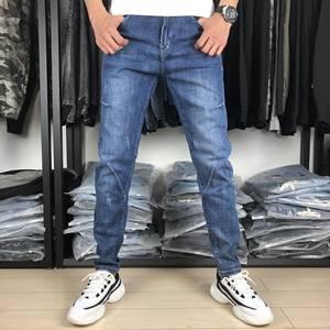 8851春夏蓝色牛仔散腿裤可网脚裤扎腰带修身微弹简单时尚青春潮流