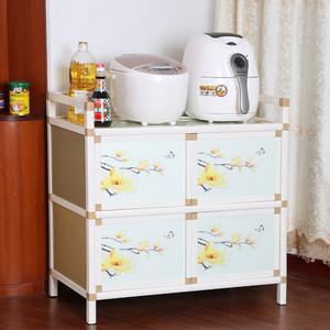 简易餐边柜碗柜厨房收纳柜储物柜橱柜茶水柜灶台柜置物<span class=H>柜子</span>不锈钢