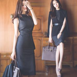 2018夏季新款名媛OL气质条纹职业女装性感修身包臀连衣裙潮中长款