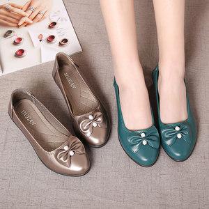 妈妈鞋女坡跟防滑软底舒适单鞋中老年人蝴蝶结皮鞋中年浅口<span class=H>女鞋</span>