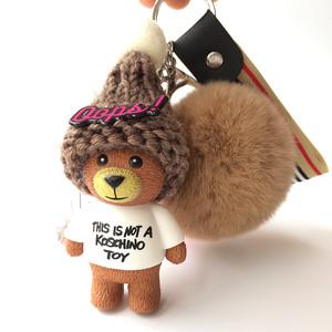 可爱小熊<span class=H>钥匙扣</span>韩版创意卡通公仔男女款汽车钥匙链毛绒包挂件挂饰