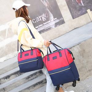 霸王虎手提拉杆包双肩背万向轮牛津布女学生旅行子母包行李登机箱