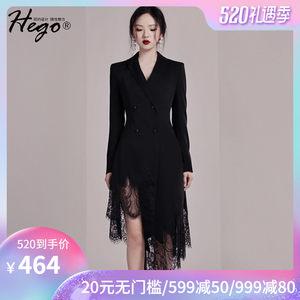2019夏季新款气质修身显瘦长袖黑色西装<span class=H>礼服</span>不规则蕾丝连衣裙女装