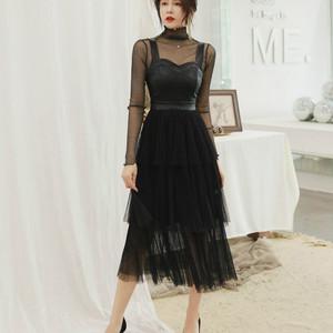 新款女装2019春季气质裹胸性感拼接网纱聚会礼服裙名媛长袖连衣裙