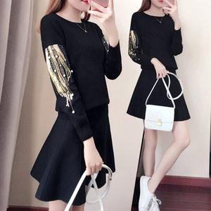 春季套装裙女装2019新款韩版大码时尚气质小个子连衣裙春秋两件套