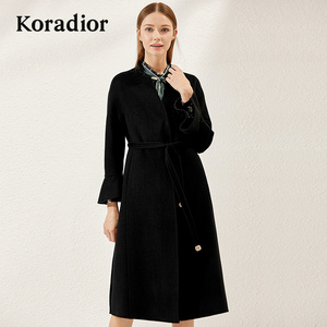Koradior/珂莱蒂尔品牌<span class=H>女装</span>2018冬装新款羊毛大衣修身毛呢<span class=H>外套</span>女