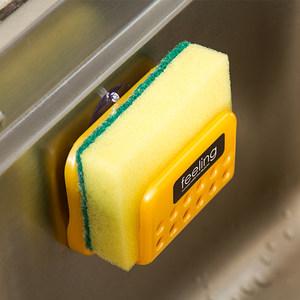 日本进口厨房置物架<span class=H>水槽架</span>百洁布壁挂洗碗海绵收纳架吸盘海绵夹