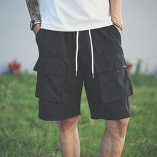 Japanese overalls and shorts Men Summer Harajuku Fashion Brand Leisure Loose Trousers Sports Summer Pentacle Trousers Trend