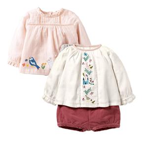 2018春秋季新女童长袖衬衫套装牛仔娃娃衫灯芯绒短裤女宝宝两件套