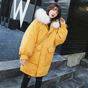 棉衣女中长款2018新款学院风韩版加厚羽绒棉服宽松大码保暖外套潮