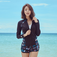 South Korea's new long sleeve suit with zipper for snorkeling, seaside surfing couples'diving suit and women's swimming suit