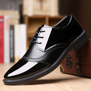 新款春夏季透气商务男士皮鞋正装休闲男皮鞋防滑亮面系带男鞋子