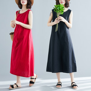 2019新款夏季大码女装中长款<span class=H>背心</span>裙修身无袖棉麻<span class=H>连衣裙</span>