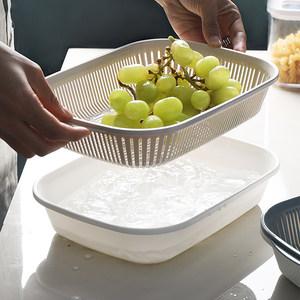 双层沥水篮收纳洗蔬菜盆大号家用厨房塑料水槽多功能长方形水<span class=H>果盘</span>