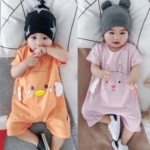 0-3-6-9-12个月婴儿短袖连体衣夏装男女宝宝新生儿夏季全棉<span class=H>包屁衣</span>