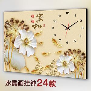 新中式单幅客厅挂画餐厅无框画挂钟电表箱<span class=H>装饰画</span>荷花钟表家和富贵