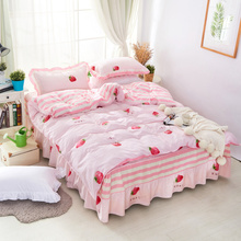 Cartoon Cotton Bed Skirt Four-piece Cotton Bed Cover for Children 1.8m 1.5m Bed Cover Four-piece Summer Cover