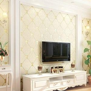 壁纸自粘无纺布墙纸防水3d立体欧式菱格卧室客厅电视背景装饰贴纸